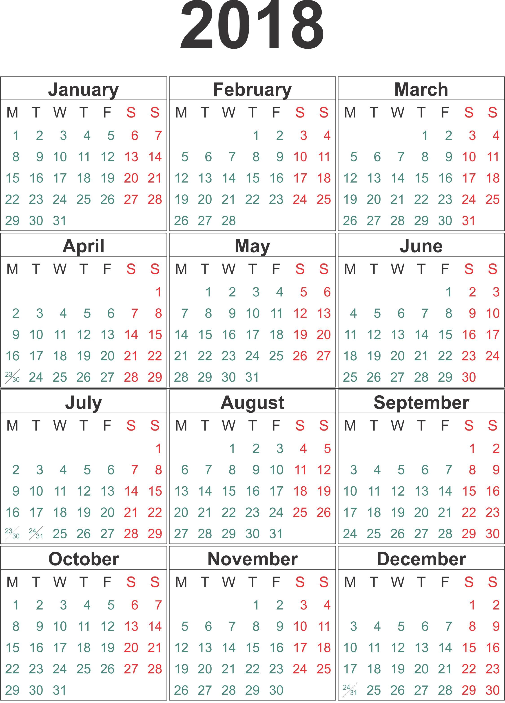 2018 Calendar Png Calendar Print Calendar Weekly Calendar Template Calendar Printables