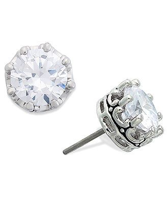 Juicy Couture Earrings Silver Tone Cubic Zirconia Stud 2 Ct T W Jewelry Watches Macy S
