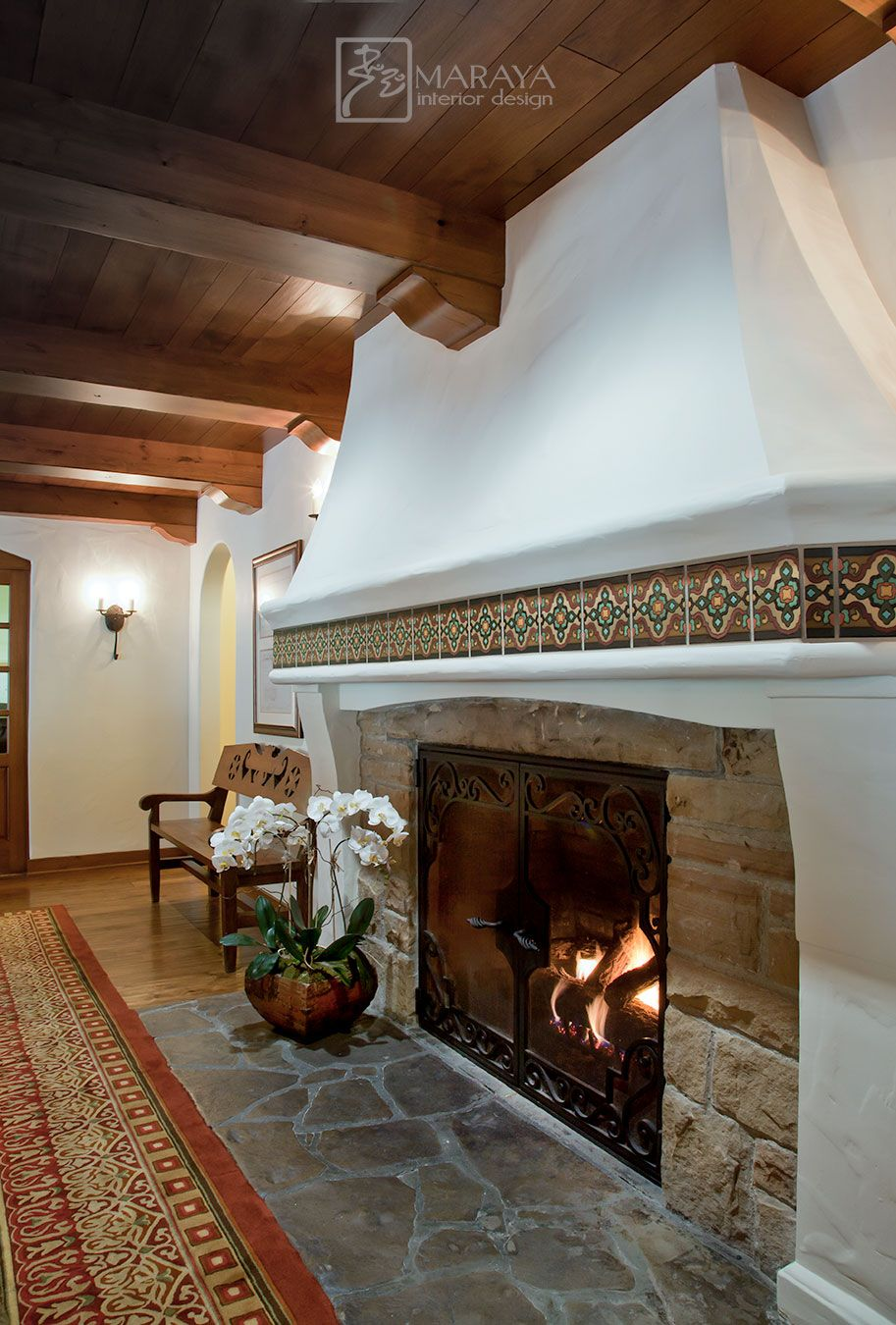 Spanish Colonial Fireplace In Plaster And Stone With Malibu Tile