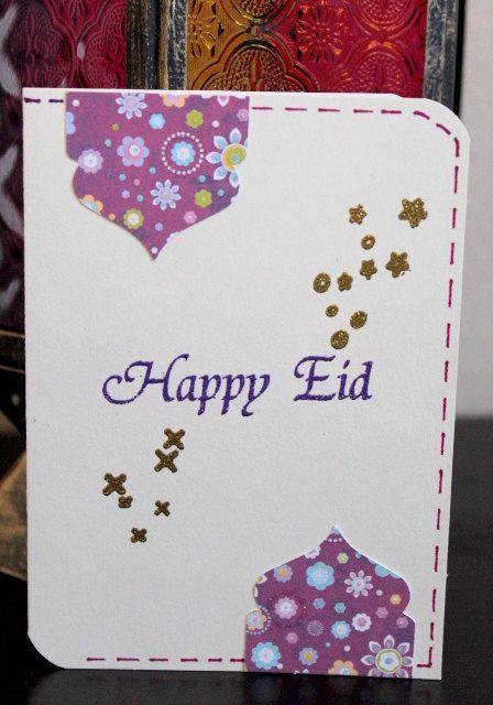 Diy Eid Card Happy Eid Gold And Purple Heat Embossed Card Heat