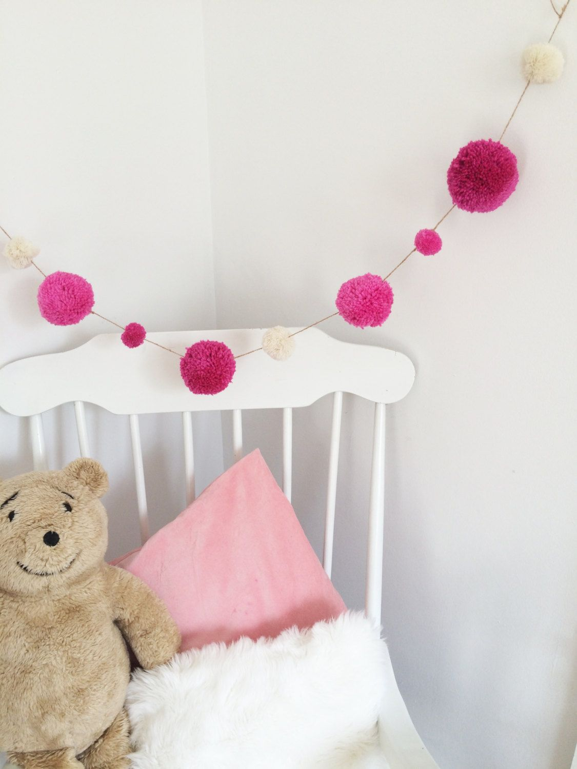 pink and cream girly colour way pom pom wool hanging garland bunting wall decoration 1000 - Girly Pictures To Colour In