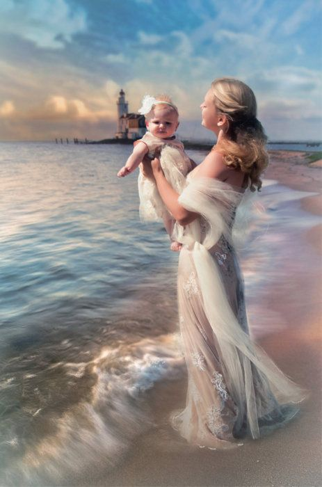 So ethereally beautiful... #mother #baby #child #ocean #water #sea #beach
