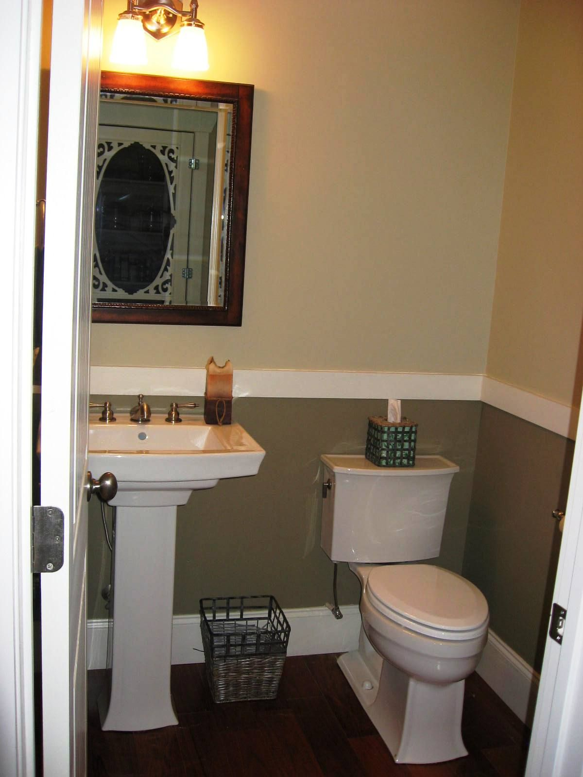 Pedestal sink dark floors chair rail half bath ideas pinterest half baths Bathroom design paint ideas
