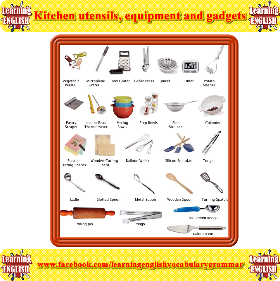 Kitchen utensils, equipment and gadgets vocabulary | Learning basic ...