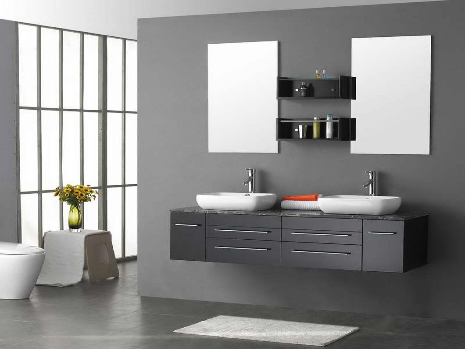 divine floating vanity with double sink added wall mount bathroom shelves beside square mirror hang on