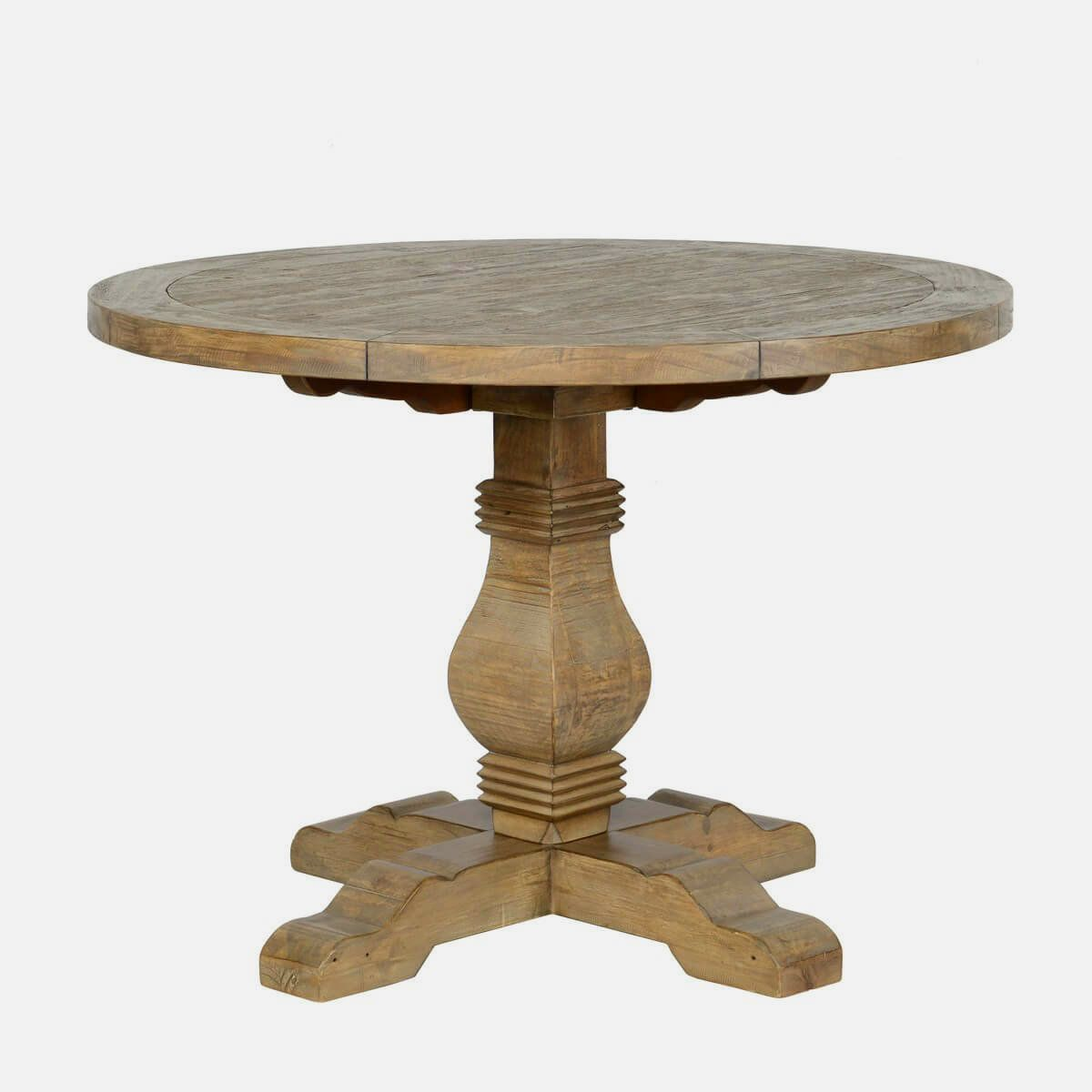 "Farmhouse Reclaimed Wood Pedestal Round Table 42"" In 2020"