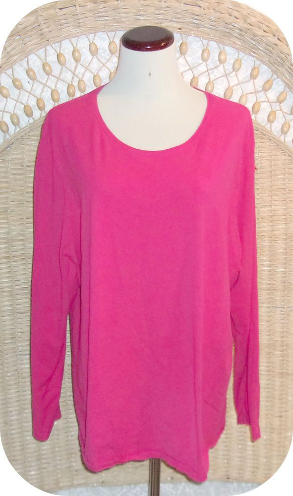 1ffec8fa8db97 JUST MY SIZE Womens Top Plus Size 3X 22 24W Hot Pink Long Sleeve Cotton