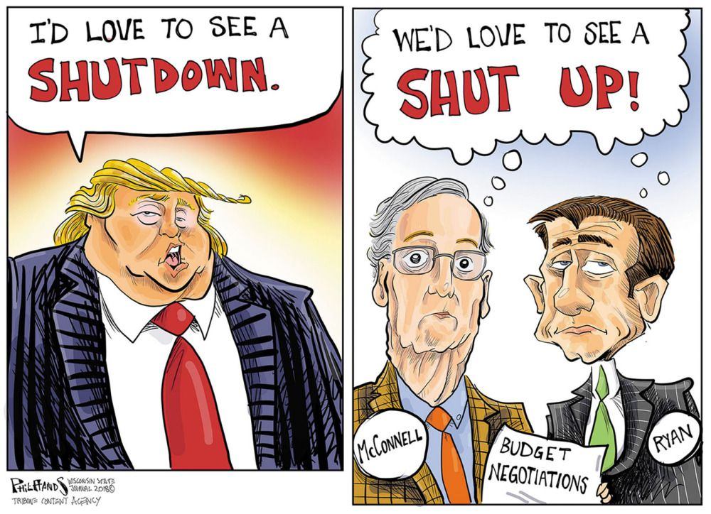 Image result for cartoon about mcconnell's absence from shutdown