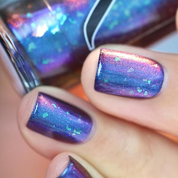 Glimro Is A Teal, Blue, Purple Multichrome Shifting Nail