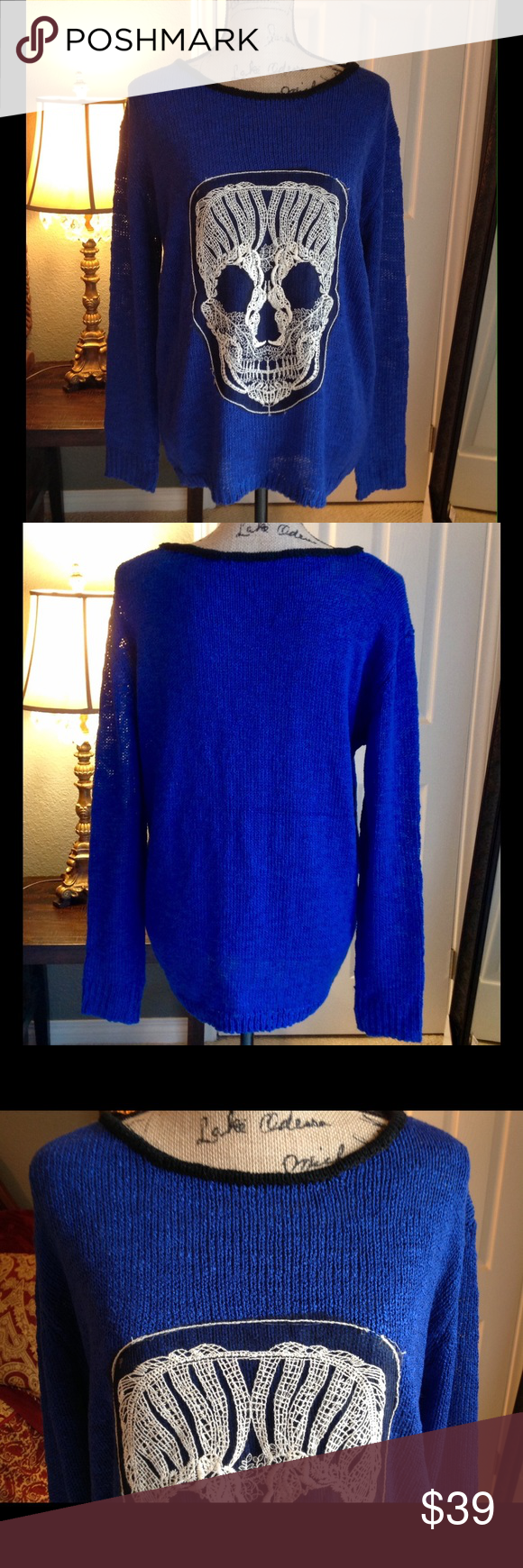 Royal Blue Skull Sweater NWOT. Gorgeous baggy royal blue sweater ...