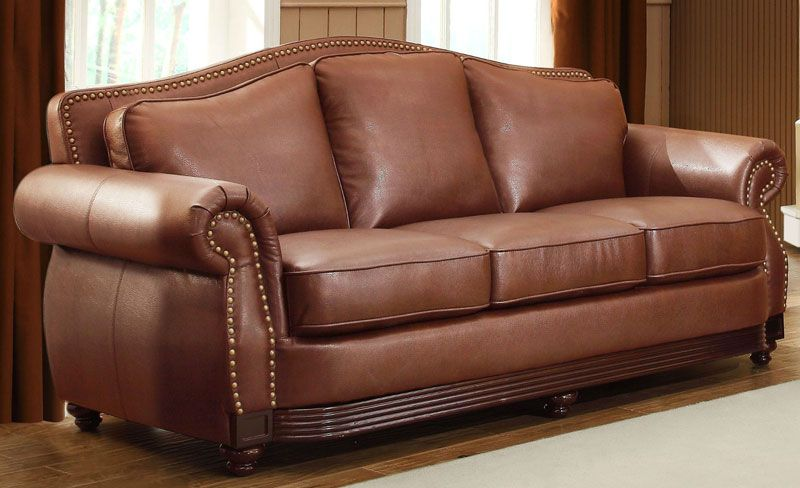 Harrington Traditional Brown Bonded Leather Sofa Couch Loveseat