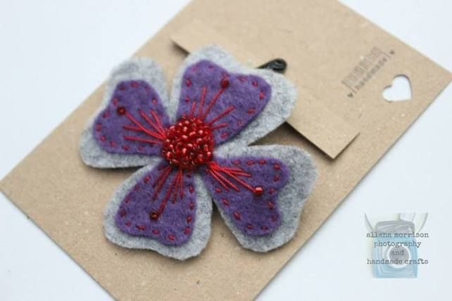 Purple and Red Felt Hair Flower  £2.30
