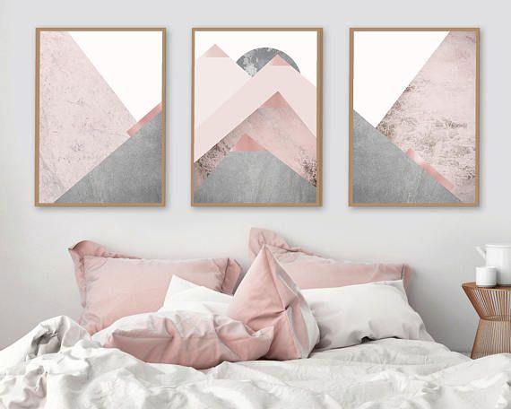 Printable Art Downloadable Prints Set Of 3 Mountains Blush Etsy Bedroom Decor Bedroom Design Trendy Bedroom