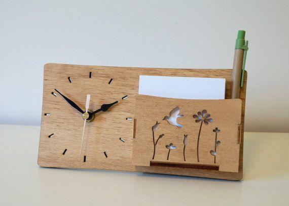 Desk Clock Wood Clock Wooden Desk Clock Memo Holder By Duartdesign