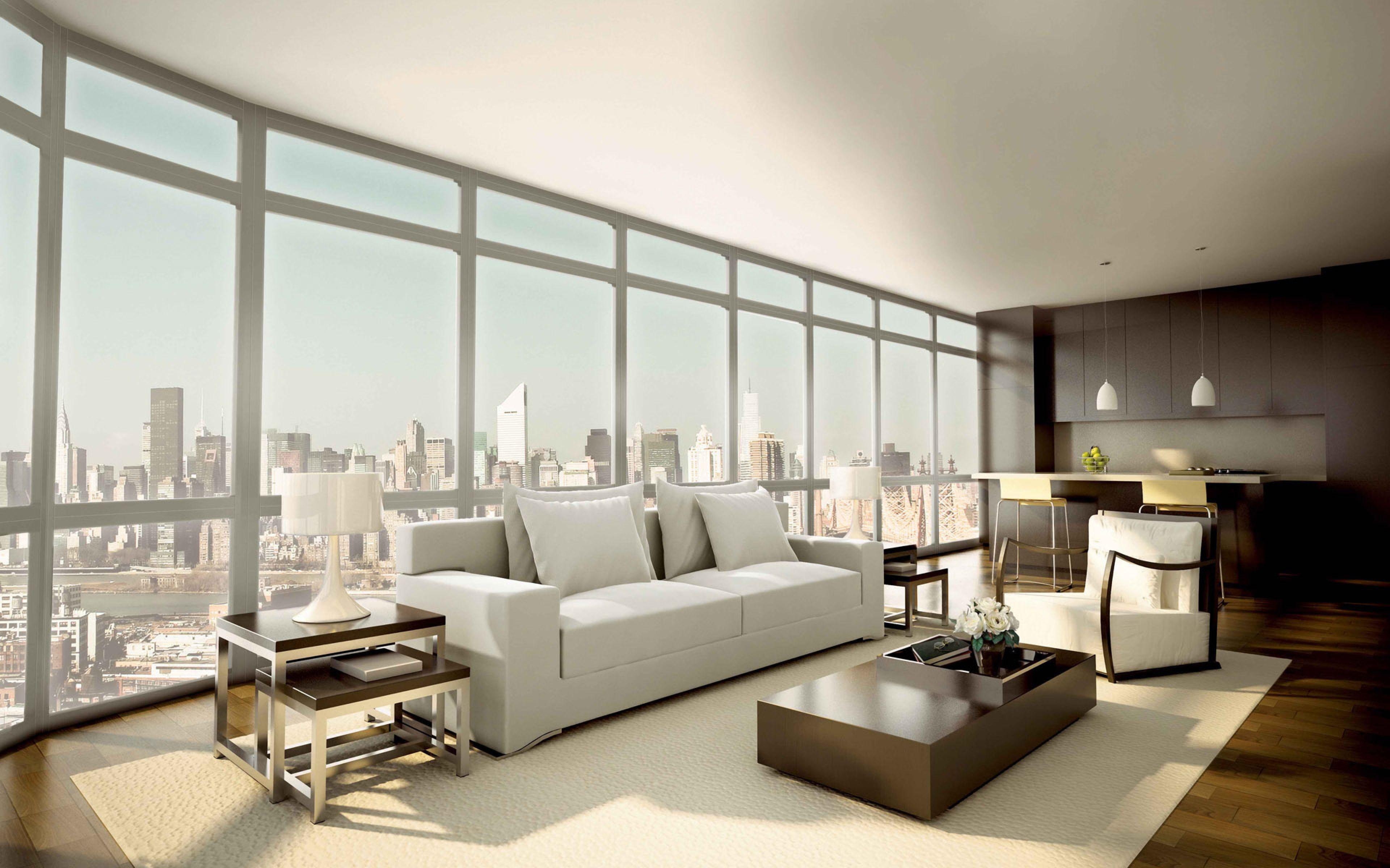 3840x2400 Wallpaper Penthouse Sofa Window Style Inte