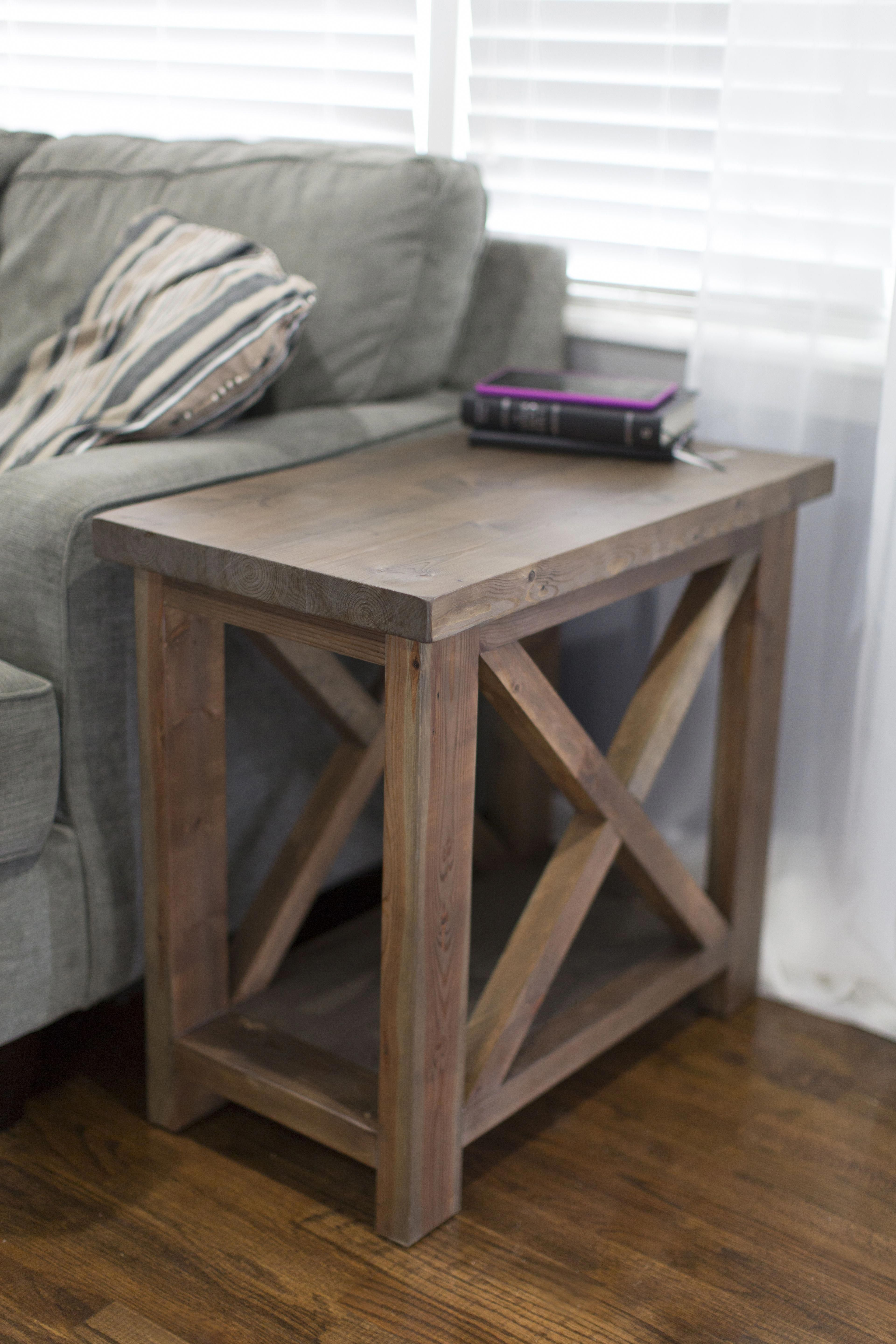 Rustic X Style Side Table With A Thick Top And A Bottom Shelf For Extra Storage Diyresinwoodtables Rustic End Tables Rustic Side Table Side Table Wood [ 5760 x 3840 Pixel ]