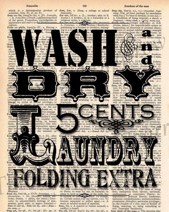 Vintage Dictionary Laundry Room Print Plus Free 5x7 Monogram