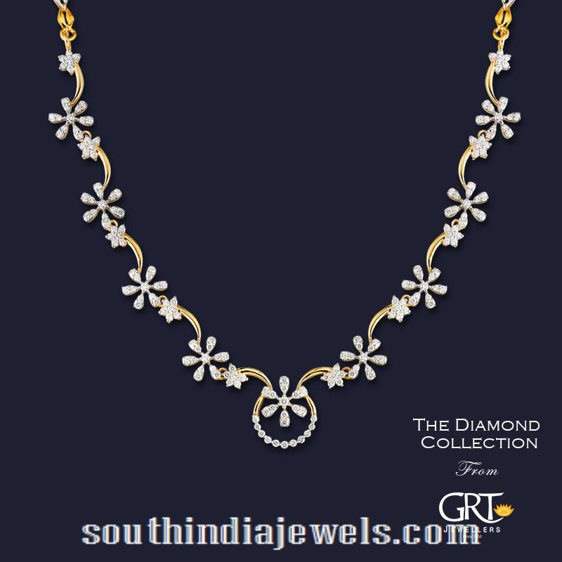 Diamond Floral Necklace From Grt Jewellers South India Jewels Diamond Necklace Designs Gold Necklace Designs Gold Jewelry Fashion