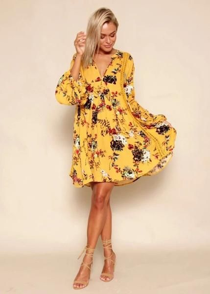 The Golden Flare Sleeve Summer Maxi Maxi Dress is almost too good to be  true! Golden yellow with red and white floral print rayon falls  effortlessly from a ...