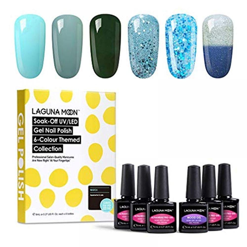 Lagunamoon Gel Nagellack Set Beliebte 6 Farben Tränken Sie weg vom Gelpoliermittel 8ML-März Aquamarine & Jade   – Nail Polish