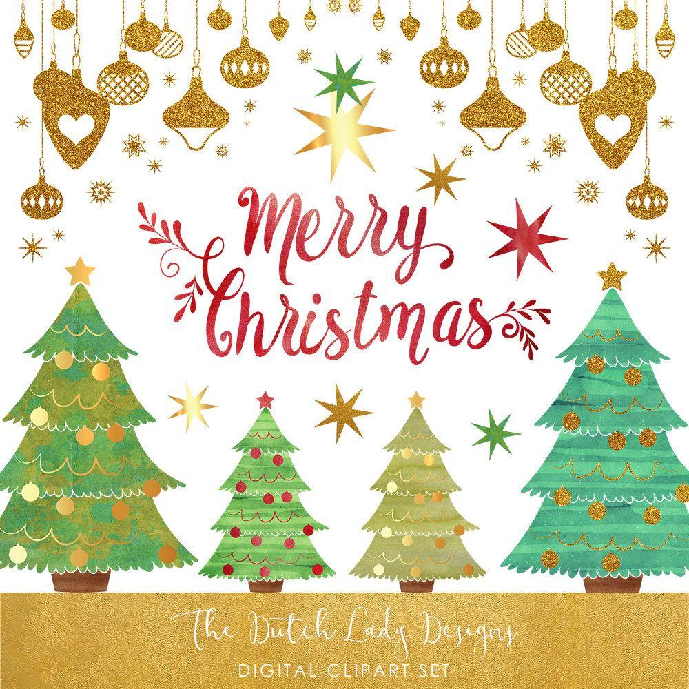 Christmas Decoration Clipart Set Christmas Trees Ornaments Stars