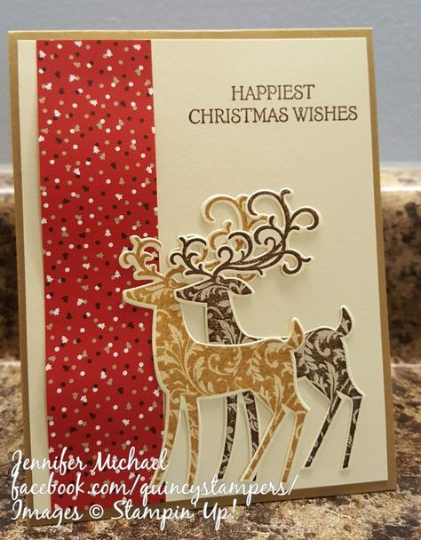 Stampin' Up! Quincy Dashing Deer Duo with Candy Cane DSP