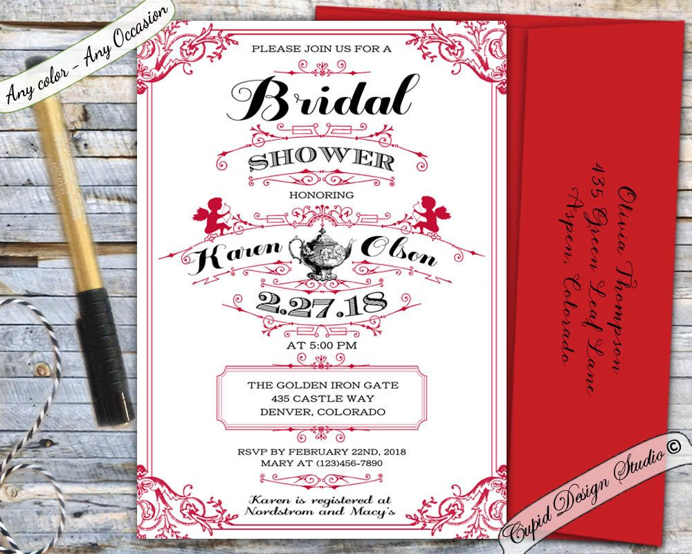 New to CupidDesigns on Etsy: Valentine bridal shower invitation ...