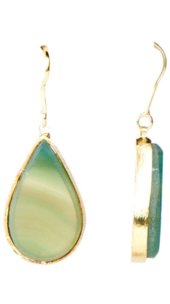 Tear Shape with Framed Stone Earrings by Marcia Moran