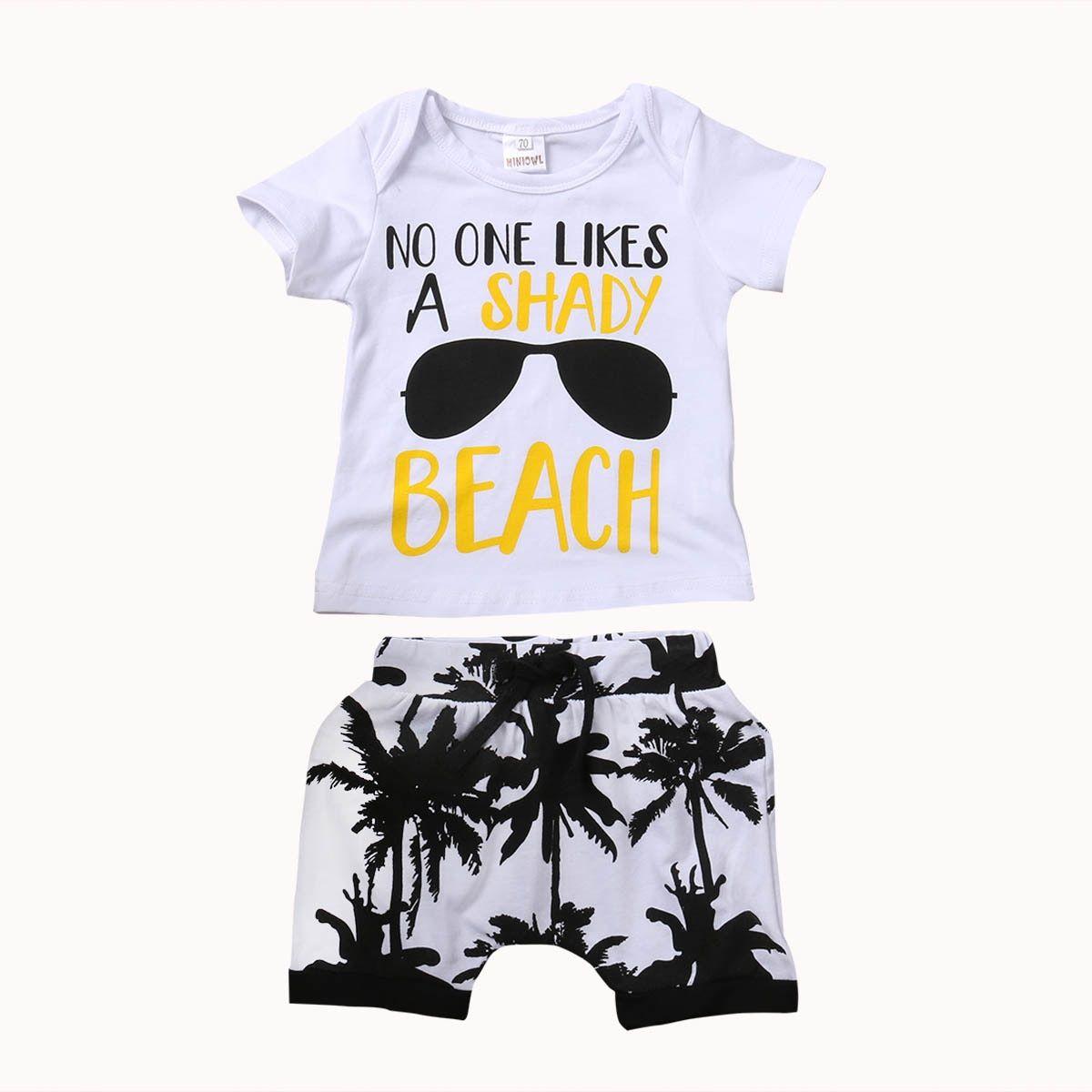 USA 2PCS Toddler Kids Baby Boy Outfits Clothes Cotton T-shirt+Shorts Pants Sets
