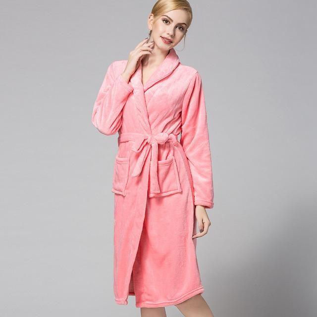 RenYvtil Women s Super Soft Luxurious Plush Kimono Bathrobe Winter Flannel  Robe Coral Down Long Pajamas Warm f541438df