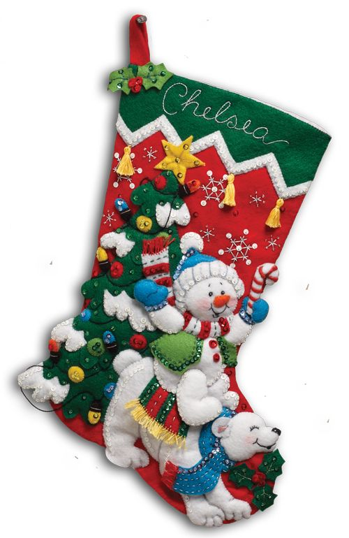 Snowman and Polar Bears Large Bucilla Stocking Large | Christmas ...