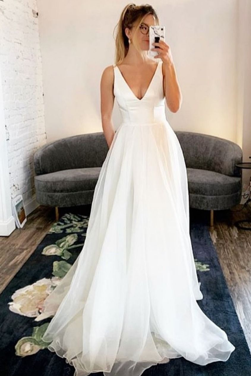 Simple Ivory Long Wedding Dress with Pockets, Cheap