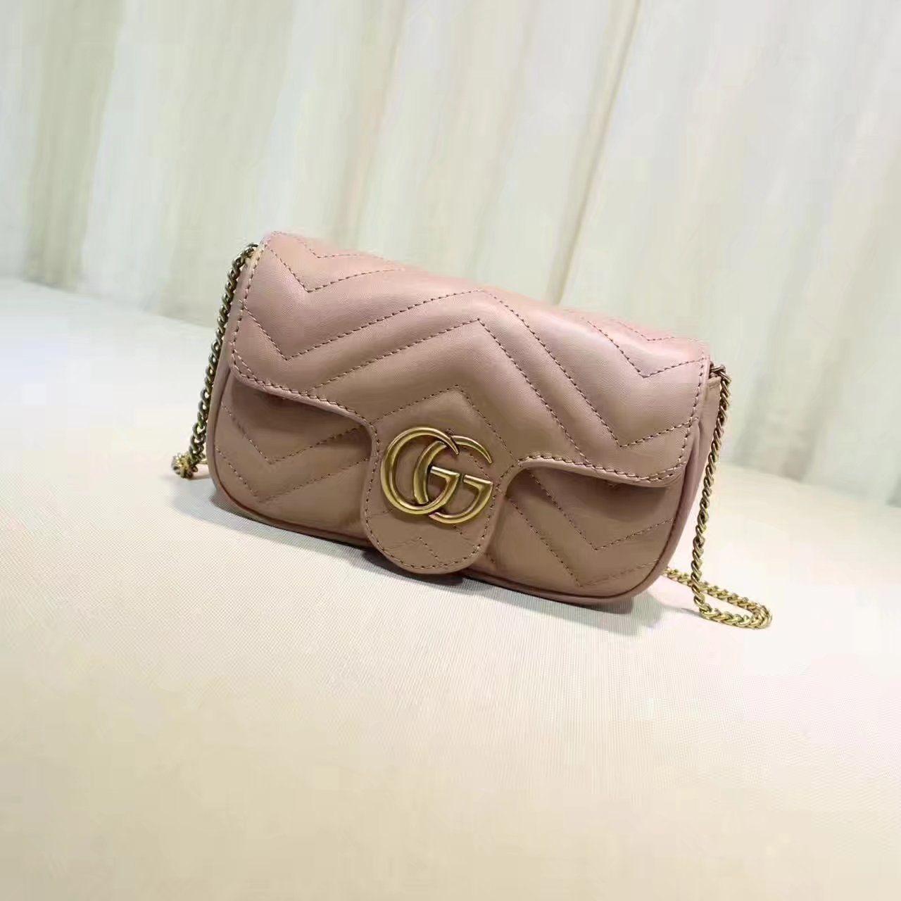 4cdf24882578 Replica GUCCI GG Marmont matelasse leather super mini bag nude ID:31677