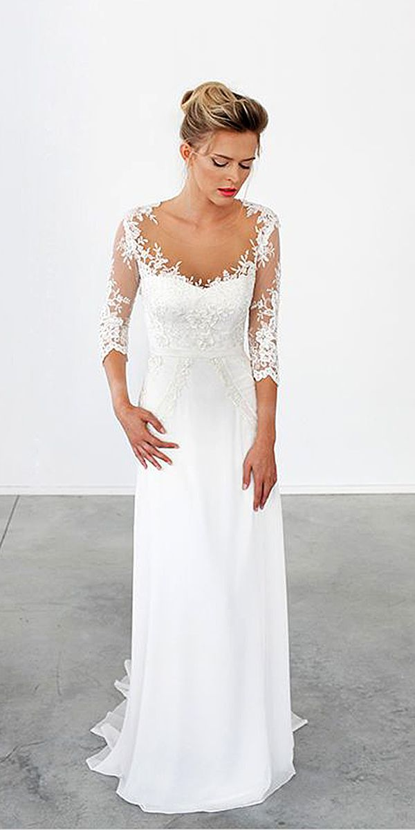 30 simple wedding dresses for elegant brides elegant for Simple elegant short wedding dresses