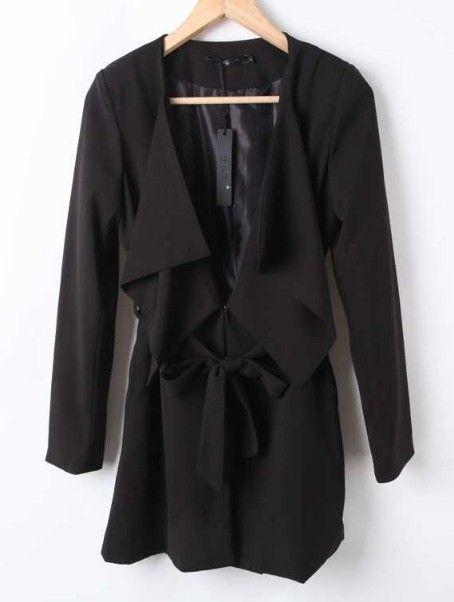 Black Long Sleeve Drawstring Waist Bow Trench Coat