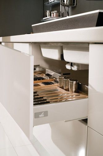 Under kitchen sink drawer organizes kitchen utensils ...