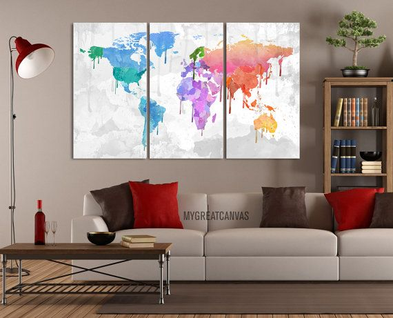 Large wall art canvas bright coloured colorful world map canvas print 3 panel canvas art