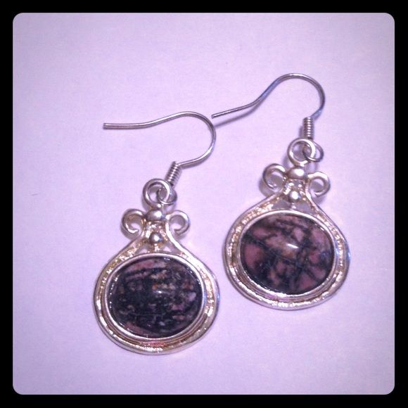 Natural Rhodonite Earrings 925 silver plated over copper New! Jewelry Earrings