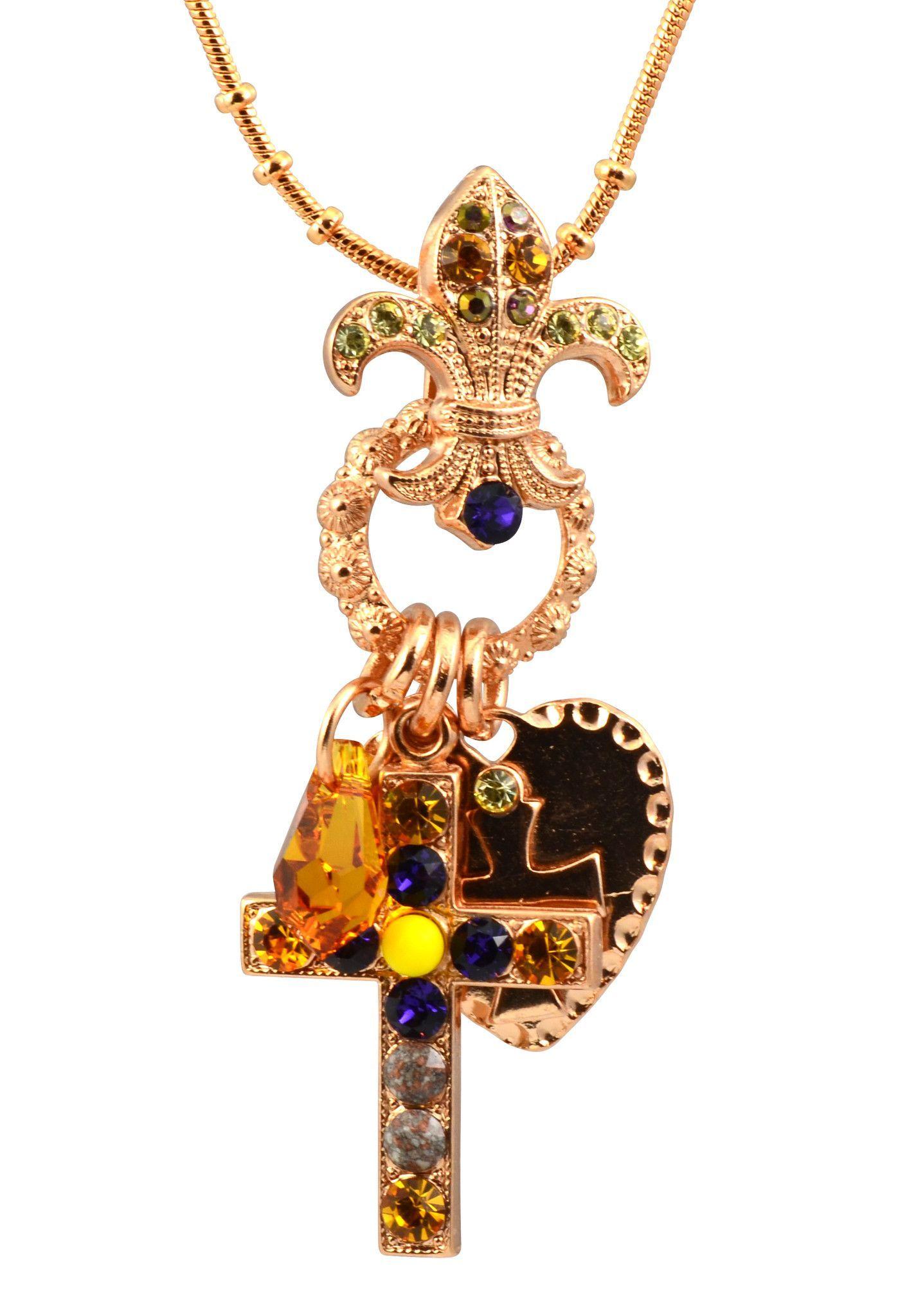 mariana hope rose gold plated swarovski crystal cross/fleur de lis