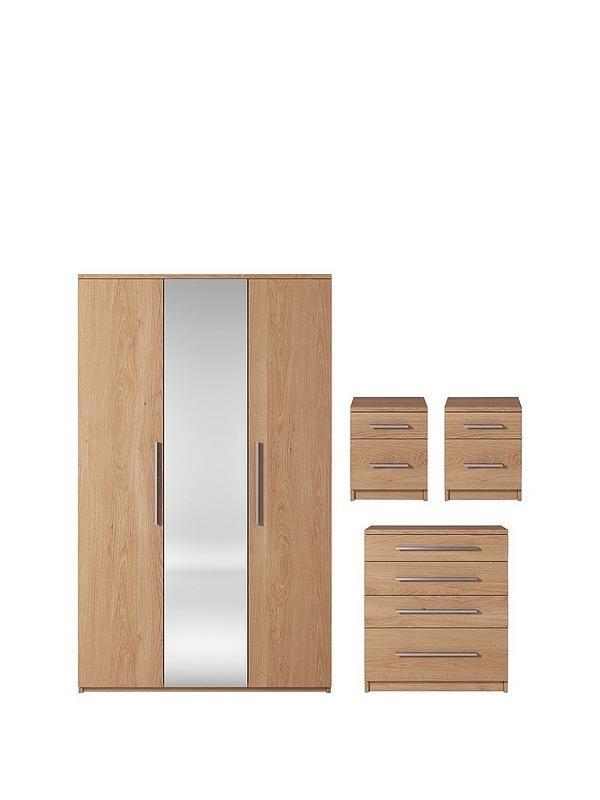 Prague Piece Package Door Mirrored Wardrobe Drawer Chest - Prague bedroom furniture set