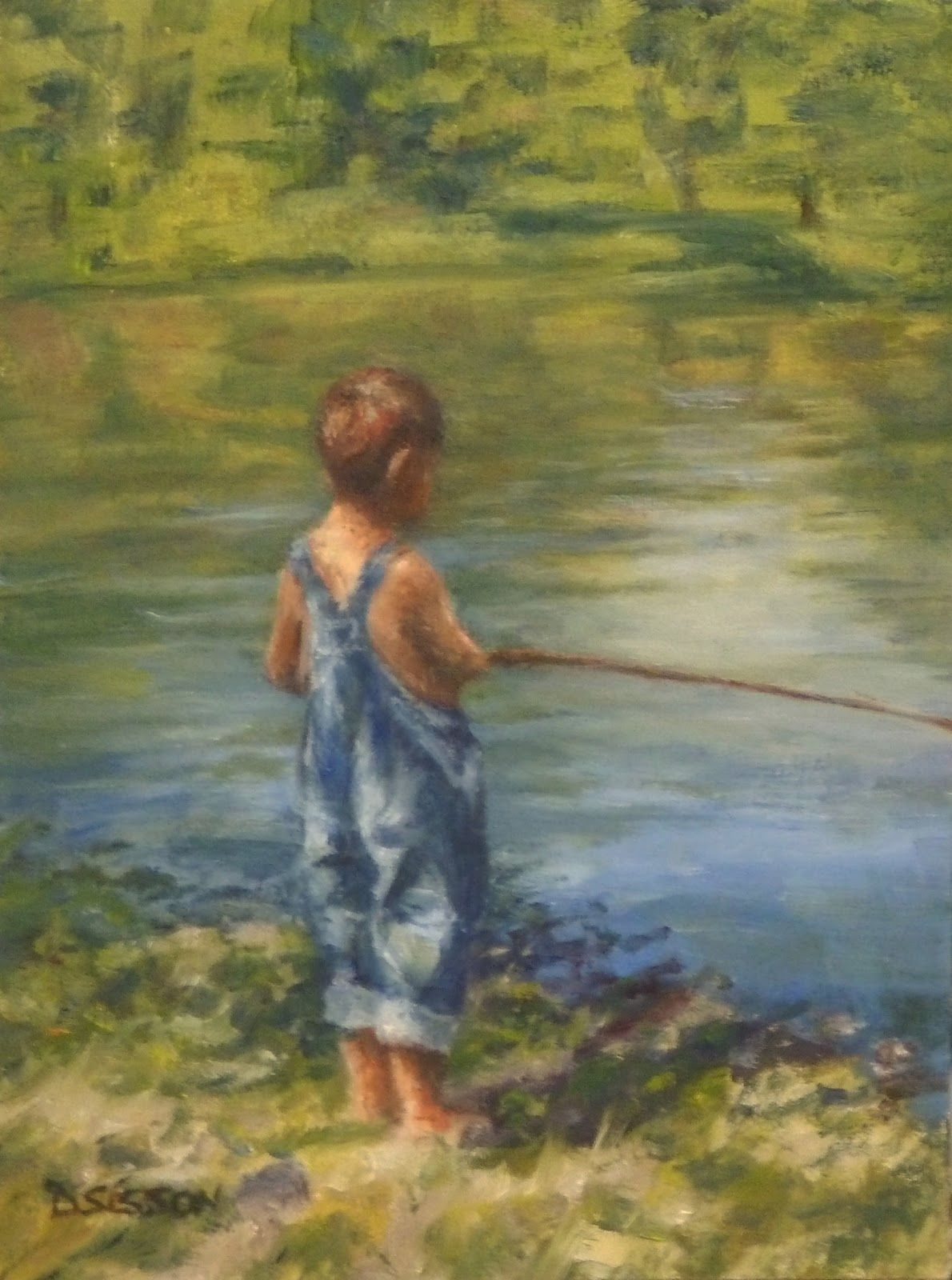 Young Fisherman Oil Painting Portrait Boy Cane Pole Fishing Oil