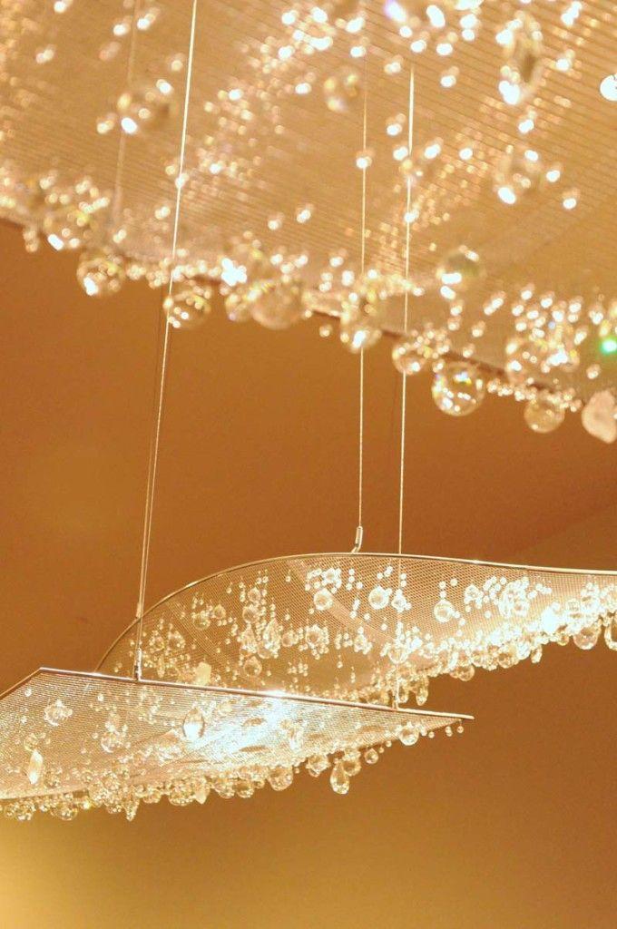 Floating crystal clouds atrium lighting crystal lighting custom made by iworks