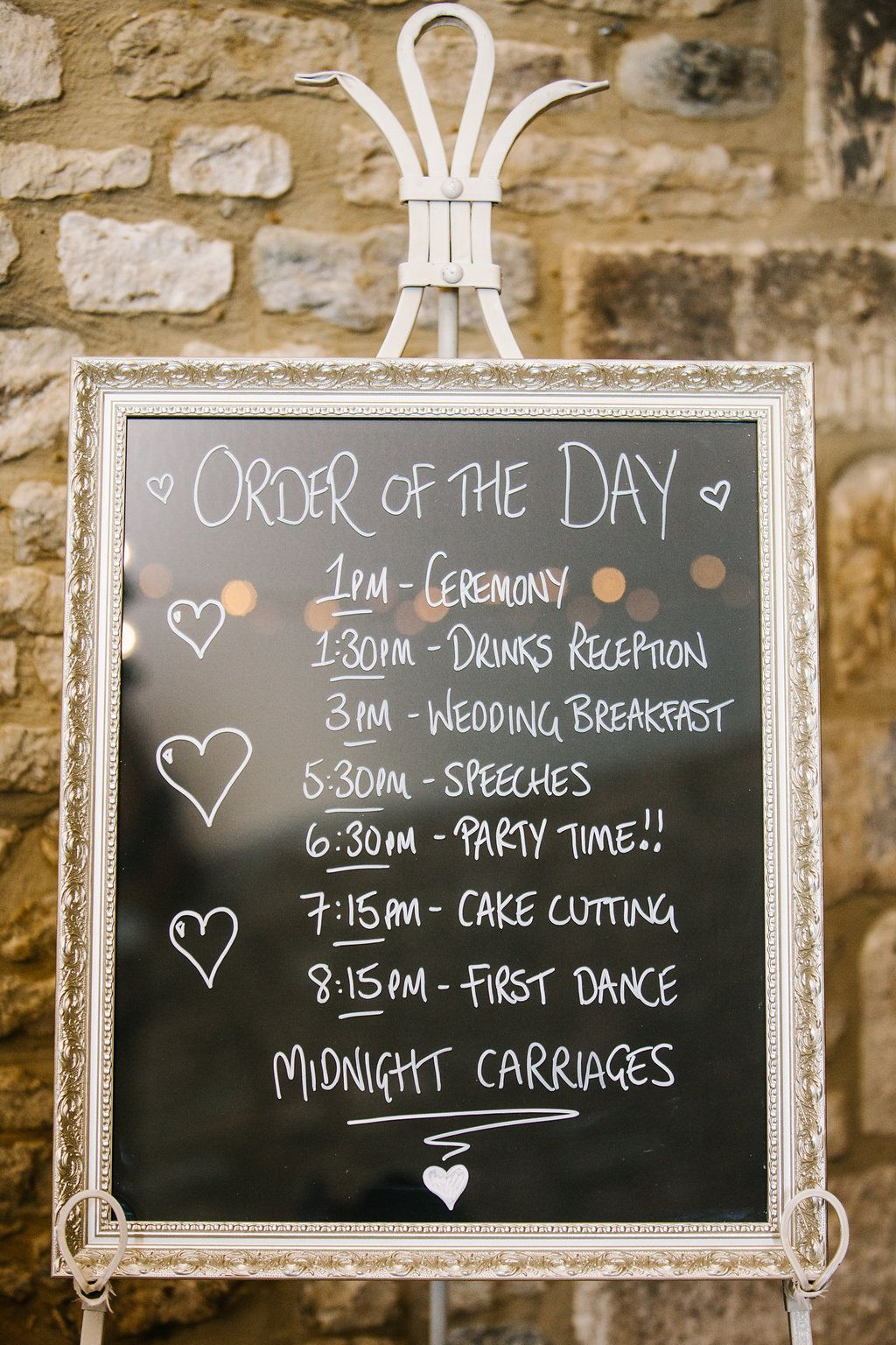 silver framed blackboard wedding order of service  order of the day  schedule
