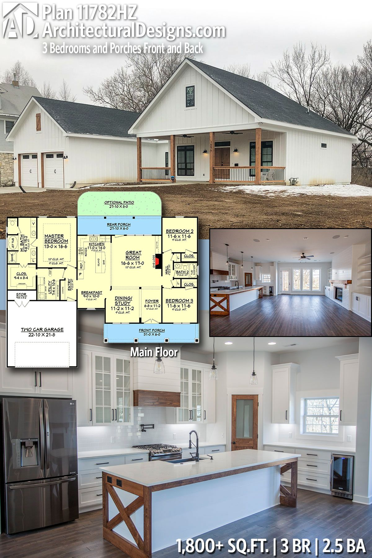 Plan 11782hz 3 Bedrooms And Porches Front And Back House Plans Barn House Plans House Plans Farmhouse