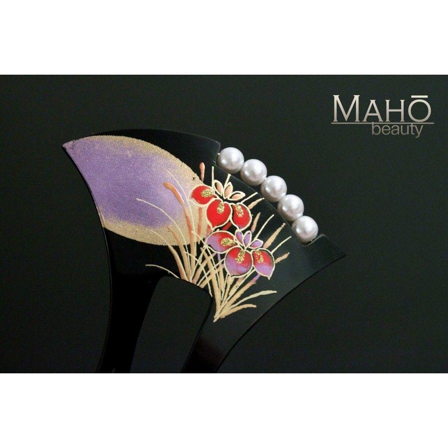 Japanese hair ornaments - Charming Japanese Hair Accessory Kanzashi Hair Comb Iris Ayame