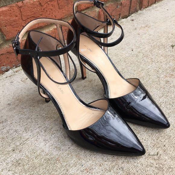 4504032d664 Antonio Melani blk patent lthr ankle strap heels