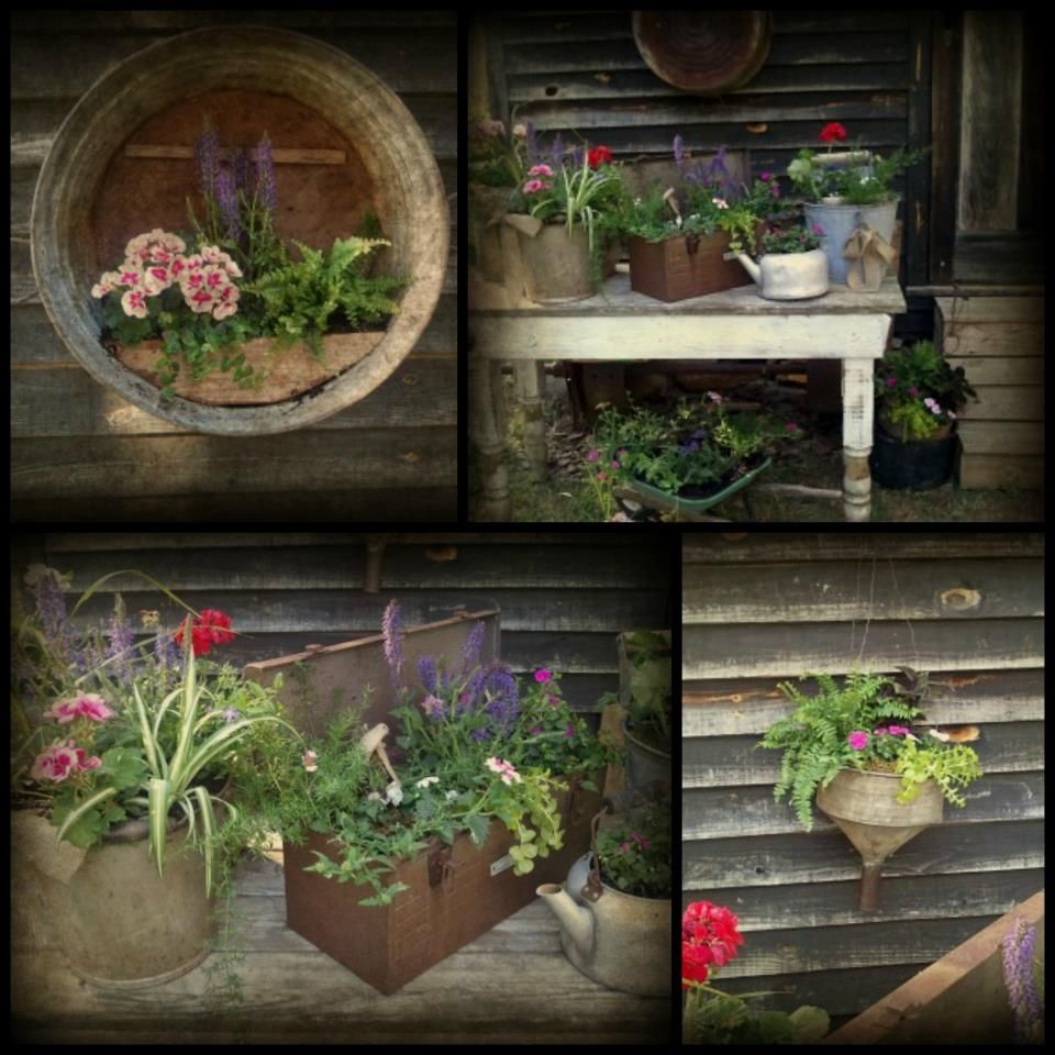 Creative Garden Containers Rustic Planters Rustic Garden Decor Garden Containers