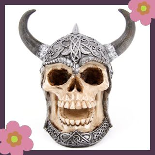 Celtic horned skull £8.99, skull money box, gifts and gift ideas at www.gifts4fun.com including skull and skeleton money boxes, trinket boxes, jewellery, walking sticks and other gifts, great for birthday presents and gift ideas