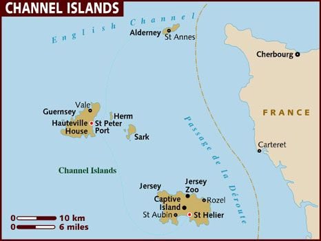 Channel Islands Britain map Britain and Southern europe