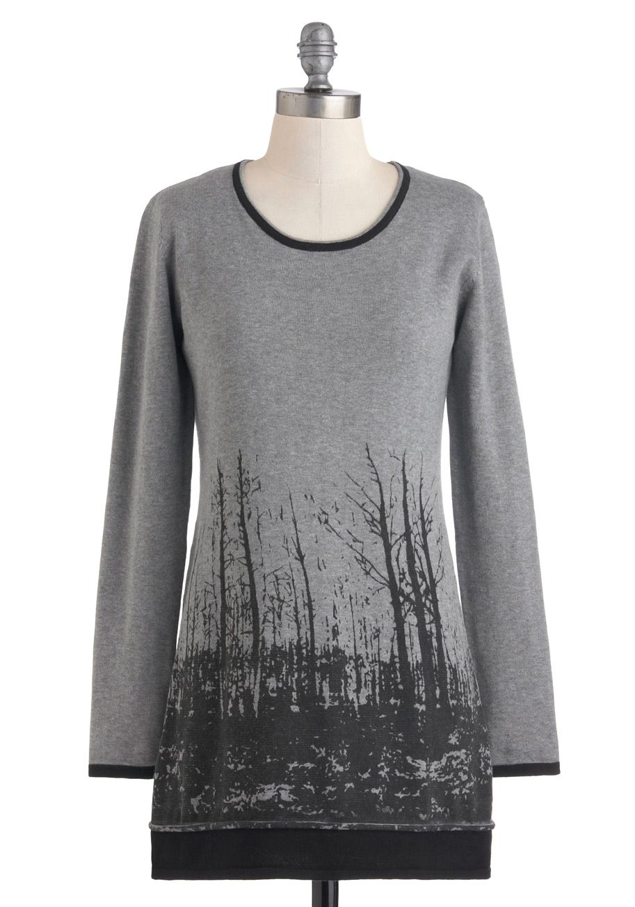 Bare Birch Sweater - Long, Cotton, Grey, Black, Print, Trim ...